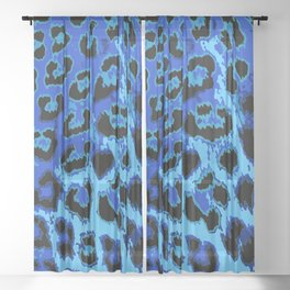 Blue Leopard Spots Sheer Curtain