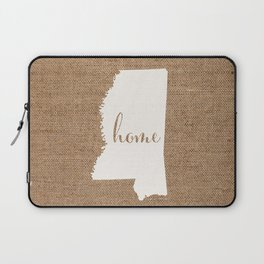 Mississippi is Home - White on Burlap Laptop Sleeve
