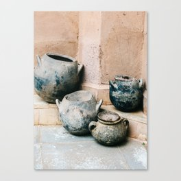 Pottery in earth tones   Ourika Marrakech Morocco   Still life photography Canvas Print