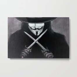 V for Vendetta  (by Esin )5 Metal Print