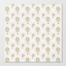 Vintage green ivory hot air balloons clouds pattern Canvas Print