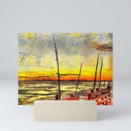 Fishing Rods at Sunset Painterly Style Mini Art Print