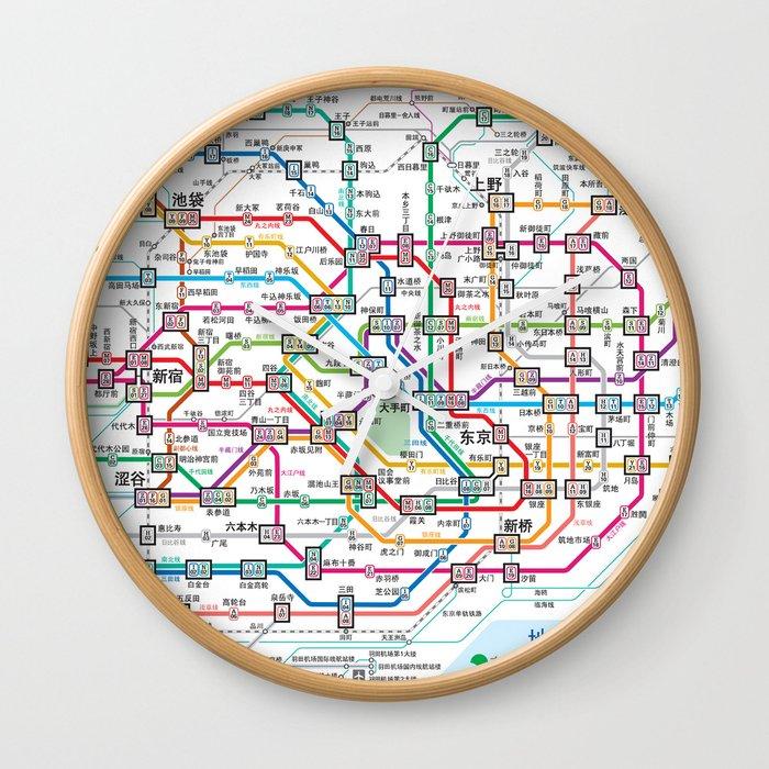 Subway Map Wall Art.Tokyo Subway Map Wall Clock