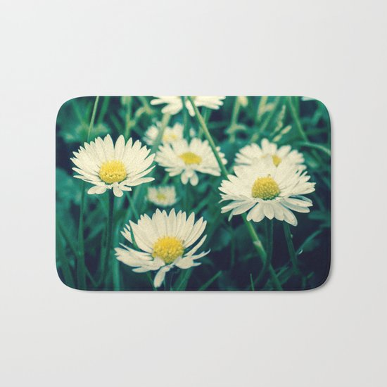 Spring Blooming White Daisies and Lady Bird Johnson Quote Bath Mat