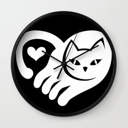 WHITE CAT HEART Wall Clock