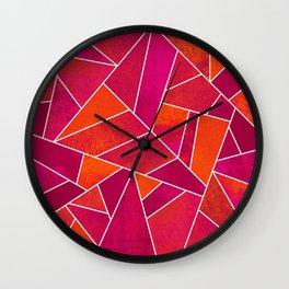 Hot Pink & Orange stone Wall Clock