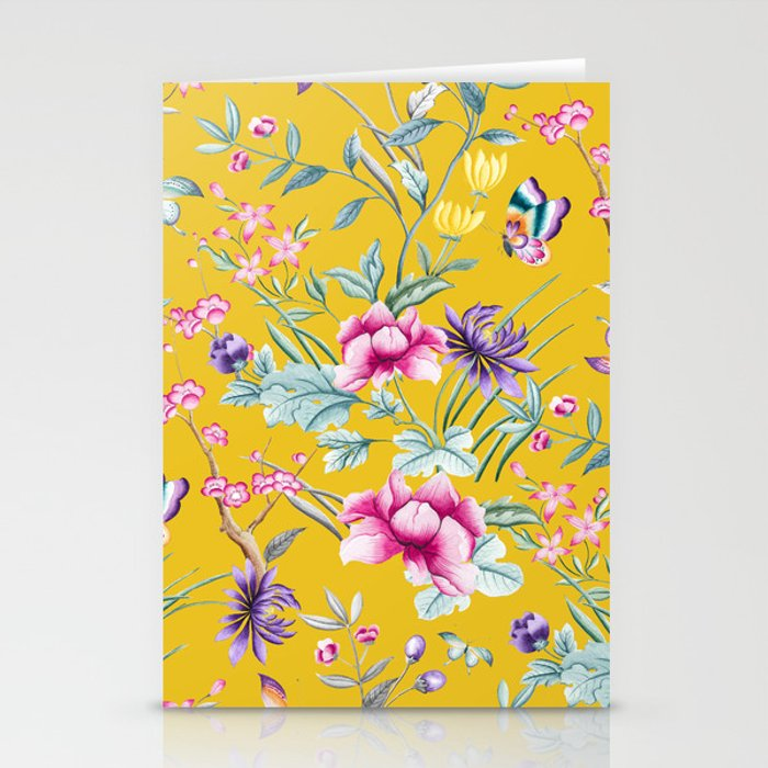 Yellow Chinoiserie Asian Floral Print Stationery Cards