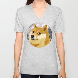 Doge to the Moon! Unisex V-Neck