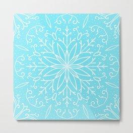 Single Snowflake - Mint Blue Metal Print