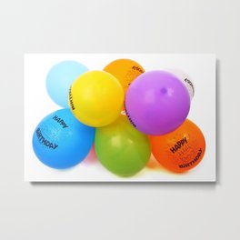 happy birth day color balloons Metal Print