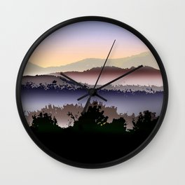Misty Mountain Foggy Landscape Wall Clock