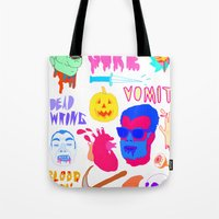 gore Tote Bags featuring Super Gore by Nick Cocozza