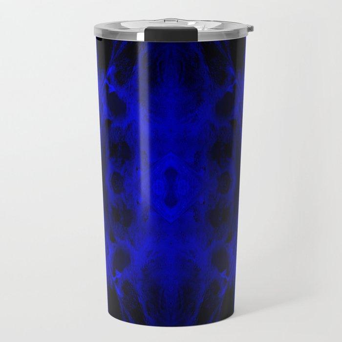 Abstract, Blue, Black (CA17020CM) Travel Mug