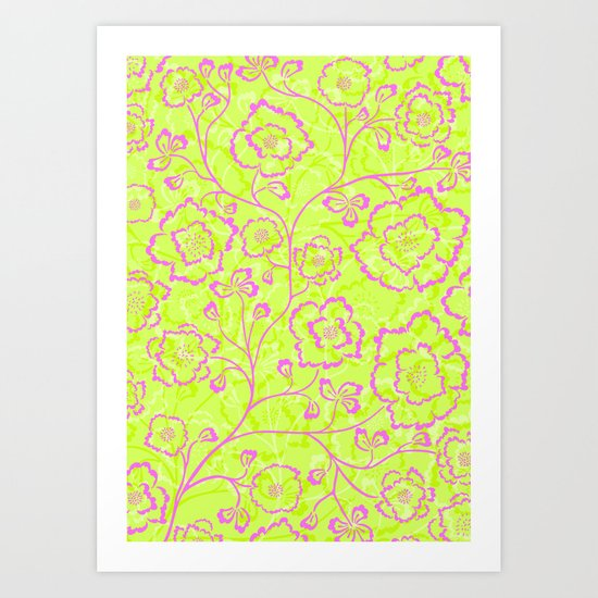 Spring Flowers in Pink and Green Art Print