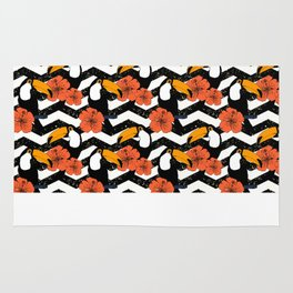 Chevron patter with cute toucans Rug