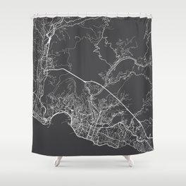 Genoa Map, Italy - Gray Shower Curtain