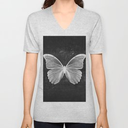 Butterfly in Black Unisex V-Neck