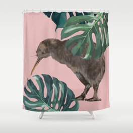 Kiwi Bird with Monstera in Pink Shower Curtain