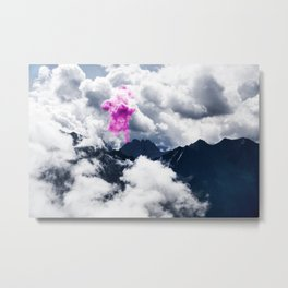 Smoke signal from mountains amongst clouds Metal Print