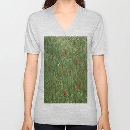 Poppy Field And Springtime Hay Meadow  Unisex V-Neck