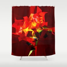 red polygone object Shower Curtain