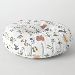 Bunnies and spring flowers Floor Pillow