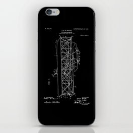 Wright Brothers Patent: Flying Machine - White on Black iPhone Skin