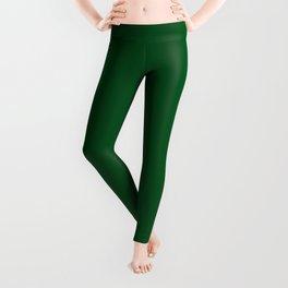 Medium-Dark Emerald Green - Autumn / Fall / Winter - Block Colours - Nature / Trees Leggings