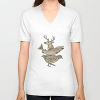 trout V-neck T-shirts featuring Deer Trout Quail Drawing by patrimonio