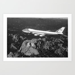 Air Force One flying over Mount Rushmore - 1990 Art Print