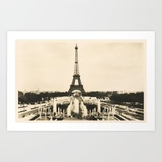 Eiffel Tower - Vintage Post card Art Print