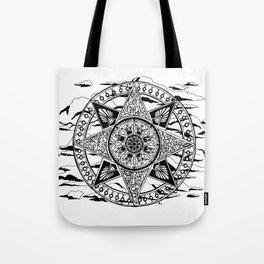 Wheel in the Sky Mandala Tote Bag