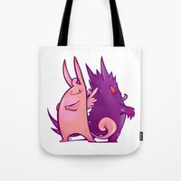 gengar Tote Bags featuring Clefable and Gengar by Ida Dobnik