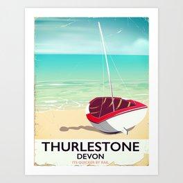 Thurlestone Devon rail poster Art Print
