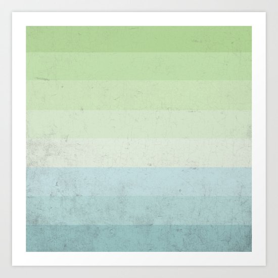 Fresh Cyan Lime Stripes Art Print