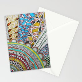 Bright, Colorful, Patterned Rays Stationery Cards
