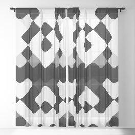 Hip Black And White Round Squares Mosaic Pattern Sheer Curtain