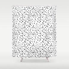 PolkaDots-Black on White Shower Curtain