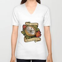 compass V-neck T-shirts featuring Compass by hvelge