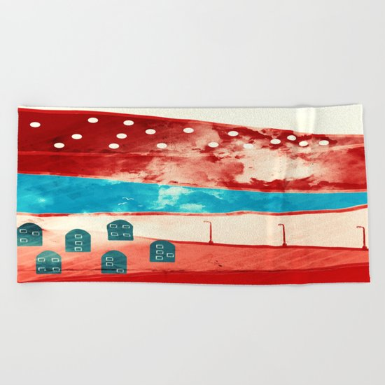 Red landscape Beach Towel