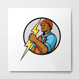 African American Electrician Lightning Bolt Mascot Metal Print