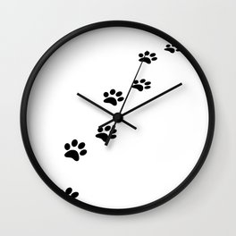 Black cat paw prints on white Wall Clock