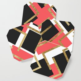Chic Coral Pink Black and Gold Square Geometric Coaster