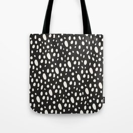 Bohemian Pebbles - Dark gray and cream dot pattern Tote Bag