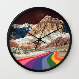 Trippy 1960s Stars and Moon Retro Red Rock Canyon Collage Milky Way Galaxy Colors Wall Clock