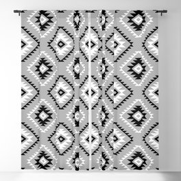 Aztec Style Motif Pattern Monochrome Blackout Curtain