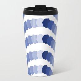 Monochromatic Blue Heptagon Waves Travel Mug