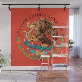 Close up of the Seal from the flag of Mexico on Adobe red background Wall Mural