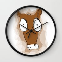donkey Wall Clocks featuring Donkey by Frances Roughton