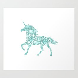 Teal Unicorn Circle Art Art Print